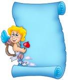 Pergamino azul 3 de la tarjeta del día de San Valentín Fotografía de archivo libre de regalías