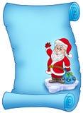 Pergamino azul con Papá Noel 2 Foto de archivo