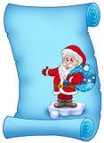 Pergamino azul con Papá Noel 3 Imagen de archivo