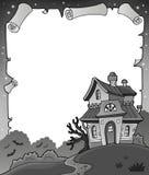 Pergamino blanco y negro 1 de Halloween Fotos de archivo