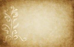 Pergamino con diseño floral Foto de archivo libre de regalías