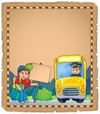 Pergamino con el autobús escolar 3 Imagen de archivo libre de regalías
