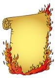 Pergamino con el fuego Imagen de archivo libre de regalías