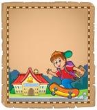 Pergamino con el muchacho cerca de la escuela Imagenes de archivo