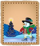 Pergamino con el muñeco de nieve patinador 1 Fotografía de archivo