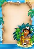 Pergamino con el pirata en la isla Imágenes de archivo libres de regalías