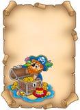 Pergamino con el pirata y el tesoro Foto de archivo libre de regalías