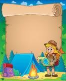 Pergamino con el tema 3 de la muchacha del explorador Imagen de archivo libre de regalías