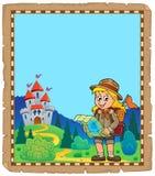 Pergamino con el tema 4 de la muchacha del explorador Imagen de archivo libre de regalías