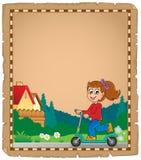 Pergamino con la muchacha en la vespa del empuje Foto de archivo libre de regalías