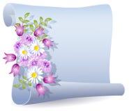Pergamino con las flores Imagenes de archivo
