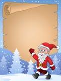 Pergamino con Santa Claus que camina Imagenes de archivo