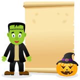 Pergamino de Halloween con Frankenstein Imagenes de archivo