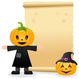 Pergamino de Halloween con la cabeza de la calabaza Imagen de archivo