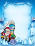 Pergamino de la Navidad con Papá Noel 2 Imagenes de archivo