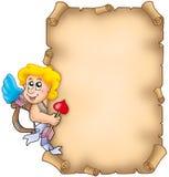Pergamino de la tarjeta del día de San Valentín con el Cupid Fotos de archivo libres de regalías