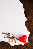 Pergamino de las tarjetas del día de San Valentín Fotografía de archivo