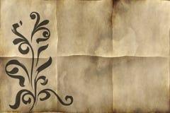 Pergamino de papel floral viejo Imágenes de archivo libres de regalías