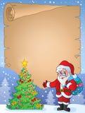 Pergamino 9 del tema de la Navidad Imagenes de archivo