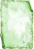 Pergamino verde con las hojas - acuarela Fotos de archivo
