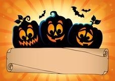 Pergamino y calabazas anchos 2 de Halloween Imágenes de archivo libres de regalías