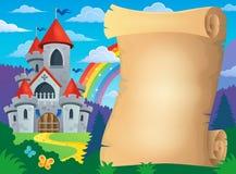 Pergamino y castillo del cuento de hadas Imagen de archivo libre de regalías
