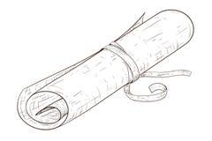 Pergaminowa ślimacznica, wiążąca z arkaną Ręka rysujący nakreślenie ilustracji