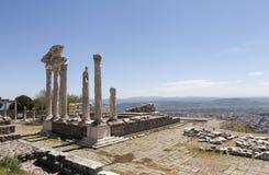Pergamon akropol indyk Ruiny świątynia Trajan Fotografia Stock