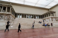 Pergamon Altar. BERLIN, GERMANY - SEPTEMBER 28: The western side of the Pergamon Altar as reconstructed in the Pergamon Museum on September 28, 2013 in Berlin Stock Images