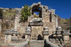 Perge、喷泉和水池,安塔利亚,土耳其古城 免版税库存照片