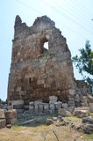 Perge city of the most beautiful works of the Roman Empire in Turkey, castle ruins Stock Photography