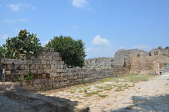 Perge city of the most beautiful works of the Roman Empire in Turkey, castle ruins Royalty Free Stock Photos