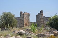 Perge city of the most beautiful works of the Roman Empire in Turkey, castle ruins Stock Image