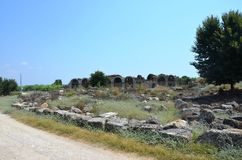 Perge city of the most beautiful works of the Roman Empire in Turkey, ruins Stock Image