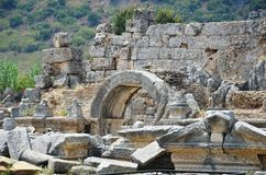 Perge city of the most beautiful works of the Roman Empire in Turkey, super modern civilization ruins Stock Images
