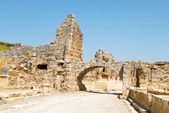 In  perge  construction asia turkey the roman temple Royalty Free Stock Photo