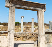 In  perge old construction asia turkey the column  and the roman temple Stock Photography