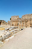In  perge old construction  the roman temple Royalty Free Stock Image