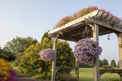Fotografia Stock: Pergola rustica con il banco e vasi da fiori sotto ...