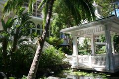 Pergola at Hawiiian Hilton. Pergola for weddings at the Hilton spa and resort Oahu, Hawaii Royalty Free Stock Image