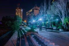 Pergola on Louis Promenade  at night Haifa Stock Image