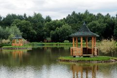 Pergola in middle of a lake Royalty Free Stock Photos
