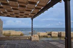 Pergola overlooking the Mediterranean Sea Stock Photo