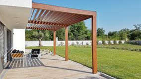 Pergola on prefabricated passive house Royalty Free Stock Images