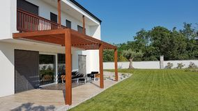 Pergola on passive house Stock Photography