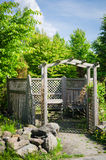 Pergola and a place to relax in the garden. Summer view stock photos