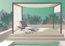 Pergola, pool, white curtains Stock Images
