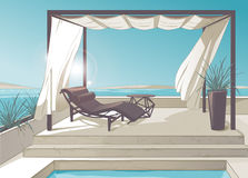 Pergola, pool, white curtains Royalty Free Stock Image