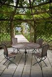 Pergola and rose garden Stock Photos