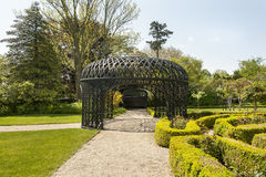 Pergola at the Rotch-Jones-Duff House. New Bedford, Massachusetts, USA - May 25, 2016: Victorian-style pergola at the heart of the ornamental gardens at the Stock Image